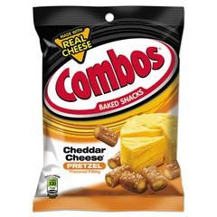 Combos Combos Baked Snacks, 6.3 oz Bag, Cheddar Cheese Pretzel, 12/Carton