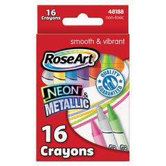 RoseArt Neon & Metallic Crayons, 16/Pk