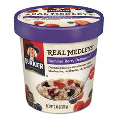 Real Medleys Oatmeal, Summer Berry Oatmeal+, 2.46oz Cup, 12/Carton