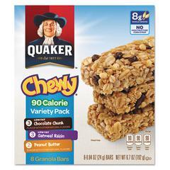 Quaker Granola Bars, Chewy Variety Pack, .84oz Bar, 8/Box, 12 Boxes/Carton