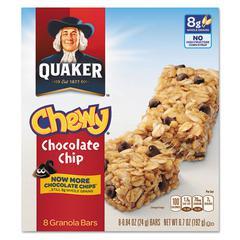 Quaker Granola Bars, Chewy Chocolate Chip, .84oz Bar, 8/Box, 12 Boxes/Carton
