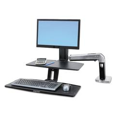 WorkFit-A Sit-Stand Workstation w/Suspended Keyboard, Single LD, Aluminum/Black