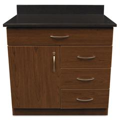 Alera Plus Hosp. Base Cabinet, Four Drawer/Door, 36w x 24 3/4d x 40h, Cherry/Granite Nebula