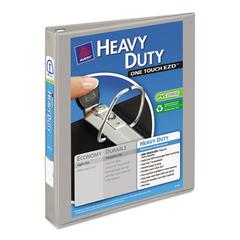 "Heavy-Duty View Binder w/Locking 1-Touch EZD Rings, 1"" Cap, Gray"