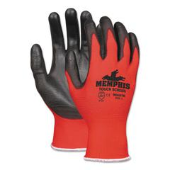 Touch Screen Nylon/Polyurethane Gloves, Black/Red, Large