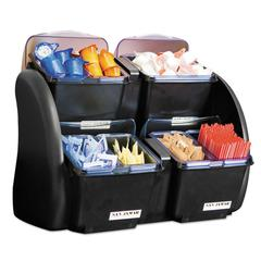 San Jamar The Dome Garnish Center, 4 Compartments, Black/Clear, 6qt
