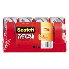 """Scotch Moving & Storage Tape, 1.88"""" x 38.2yds, 3"""" Core, Clear, 4 Rolls/Pack"""