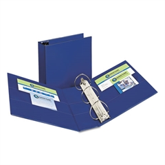 """Avery Durable Binder with Two Booster EZD Rings, 11 x 8 1/2, 4"""", Blue"""