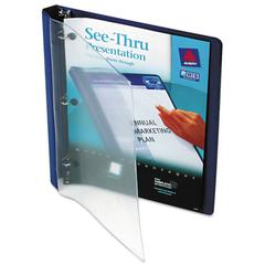 "See-Thru View Binder w/Round Rings, 11 x 8 1/2, 1/2"" Cap, Blue"