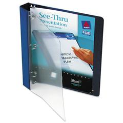 "See-Thru View Binder w/Round Rings, 11 x 8 1/2, 1"" Cap, Blue"