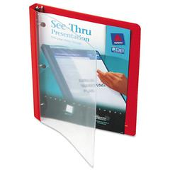 "Avery See-Thru View Binder w/Round Rings, 11 x 8 1/2, 1/2"" Cap, Red"