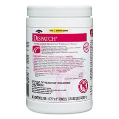 Dispatch Cleaner Disinfectant Towels, 6 3/4 x 8, 150/Can, 8 Canisters/Carton