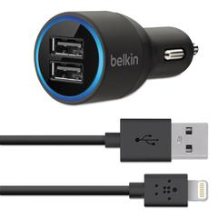Belkin Dual Car Charger, Two 2.1 Amp Ports, Detachable Lightning Cable