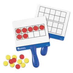 Magnetic Ten Frame Boards, 4 Blue/White Boards, 100 Red/Yellow Foam Counters