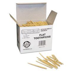Chenille Kraft Flat Wood Toothpicks, Wood, Natural, 2500/Pack