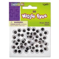 Round Black Wiggle Eyes, 10mm, Black, 50/Pack