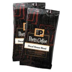 Peet's Coffee & Tea Coffee Portion Packs, House Blend, Decaf, 2.5 oz Frack Pack, 18/Box
