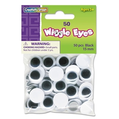 Creativity Street Round Black Wiggle Eyes, 15mm, Black, 50/Pack