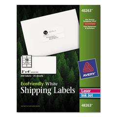 EcoFriendly Laser/Inkjet Shipping Labels, 2 x 4, White, 250/Pack