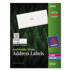 Avery EcoFriendly Laser/Inkjet Easy Peel Mailing Labels, 1 x 2 5/8, White, 750/Pack