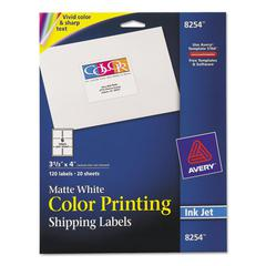 Avery Vibrant Color-Printing Shipping Labels, 3 1/3 x 4, Matte White, 120/Pack