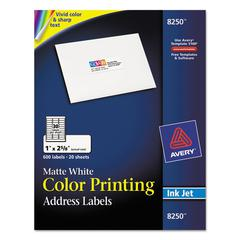 Vibrant Color-Printing Address Labels, 1 x 2 5/8, Matte White, 600/Pack