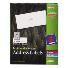 EcoFriendly Laser/Inkjet Easy Peel Mailing Labels, 1 x 2 5/8, White, 3000/Pack