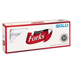 SOLO Cup Company Heavyweight Plastic Cutlery, Forks, White, 6.41 in, 500/Carton