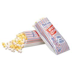 Bagcraft Pinch-Bottom Paper Popcorn Bag, 4w x 1-1/2d x 8h, Blue/Red/White, 1000/Carton