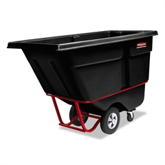 Rubbermaid Commercial Rotomolded Tilt Truck, Rectangular, Plastic, 1/2 cu yd., 850-lb Cap., Black