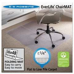 ES Robbins Foldable 36x48 Rectangle Chair Mat, Task Series for Carpet up to 1/4""