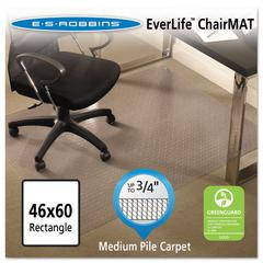 ES Robbins EverLife Chair Mats For Medium Pile Carpet, Rectangular, 46 x 60, Clear