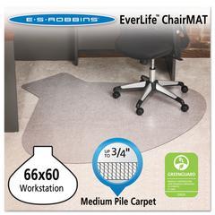 ES Robbins EverLife Chair Mats For Medium Pile Carpet, Contour,  66 x 60, Clear