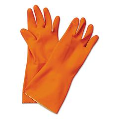 Boardwalk Flock-Lined Latex Cleaning Gloves, Medium, Orange, 12 Pairs