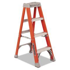 "Fiberglass Heavy Duty Step Ladder, 50"", 3-Step, Orange"