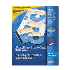 Avery CD/DVD Label and Insert Combo Sheets, Matte White, 20 Labels and 20 Inserts