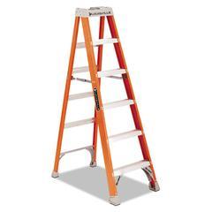 "Fiberglass Heavy Duty Step Ladder, 73 3/5"", 5-Step, Orange"