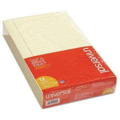 Universal Glue Top Writing Pads, Legal Rule, Legal, Canary, 50 Sheet Pads/Pack, Dozen