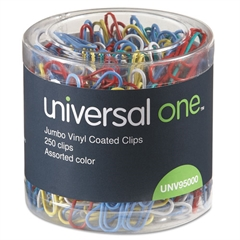 Vinyl-Coated Wire Paper Clips, Jumbo, Assorted Colors, 250/Pack