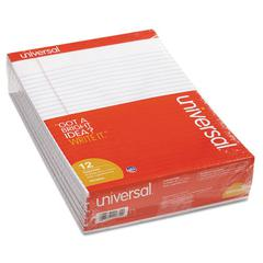 Universal Perforated Edge Writing Pad, Legal Ruled, Letter, White, 50 Sheet, Dozen