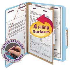 Pressboard Classification Folders, Letter, Four-Section, Blue, 10/Box