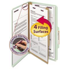 Pressboard Classification Folders, Legal, Four-Section, Gray/Green, 10/Box
