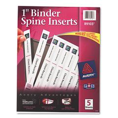 """Avery Binder Spine Inserts, 1"""" Spine Width, 8 Inserts/Sheet, 5 Sheets/Pack"""