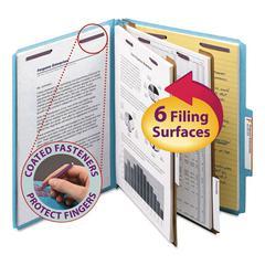 Smead Pressboard Classification Folders, Letter, Six-Section, Blue, 10/Box
