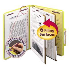 Smead Pressboard Classification Folders, Letter, Six-Section, Yellow, 10/Box
