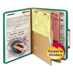 Pressboard Folders with Two Pocket Dividers, Letter, Six-Section, Green, 10/Box