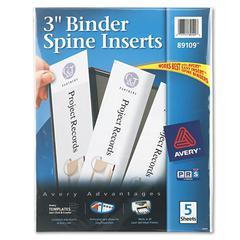 "Binder Spine Inserts, 3"" Spine Width, 3 Inserts/Sheet, 5 Sheets/Pack"
