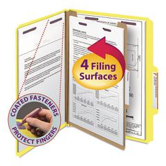 Pressboard Classification Folders, Letter, Four-Section, Yellow, 10/Box