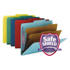 Pressboard Classification Folders, Letter, Six-Section, Assorted, 10/Box