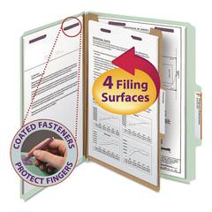 Pressboard Classification Folders, Letter, Four-Section, Gray/Green, 10/Box